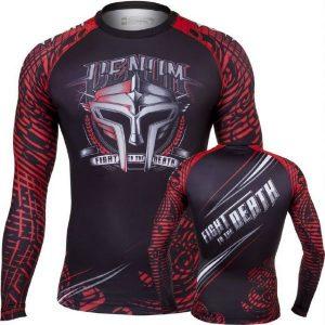 """ראשגארד Venum """"gladiator """" Rashguard - Black red ארוך"""